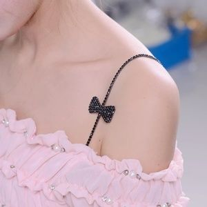 Accessories - Black Bow Rhinestoned Bra Straps